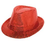 Rode trilby hoed met glitters - 22,5cm