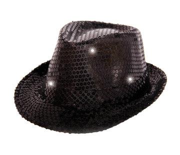 Trilby hoed metallic zwart met LED lichten en glitters - 23cm