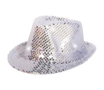 Trilby hoed zilver met LED lichten en glitters - 22cm