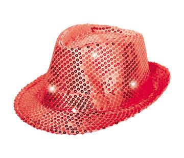 Trilby hoed rood met LED lichten en glitters - 22cm