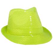 Gele Neon Trilby Hoed met Glitters - 23cm