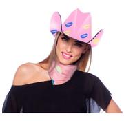 Roze Cowboy Hoed Lippen - 30cm