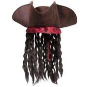 Piratenhoed Bruin met Haar - 35cm