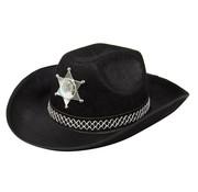 Zwarte Cowboy Hoed met Sheriff Ster -30cm