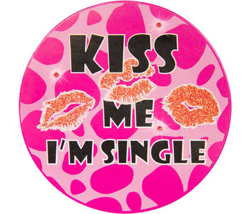 Rozet Led Party Button Kiss Me I'm Single