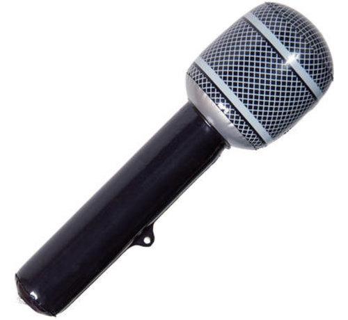 Opblaasbare Microfoon Zwart - 32cm