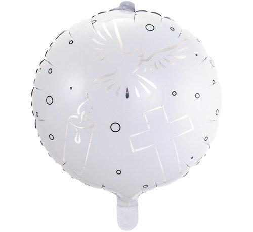 Folieballon Communie Wit - 43cm