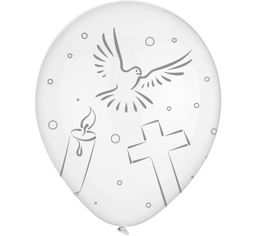 Communie Ballonnen Wit 30cm - 8 stuks