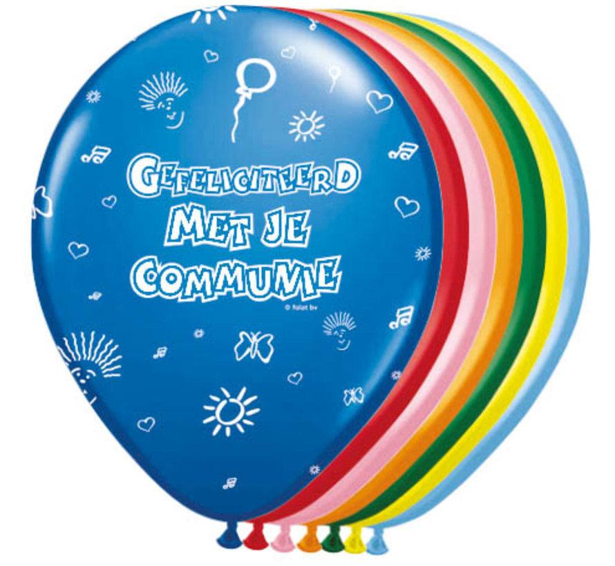 Communie Ballonnen Meerkleurig 30cm - 8 stuks