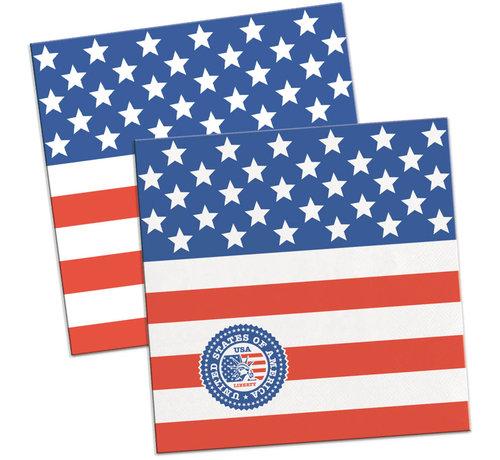 USA Party Servetten 25x25cm - 20 stuks