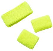 Zweetbandjes Neon Geel - 3 stuks