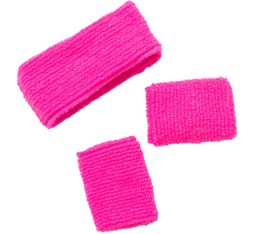 Zweetbandjes Neon Roze - 3 stuks