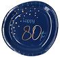 Borden Luxe Blauw 80 Jaar 23cm - 8 stuks