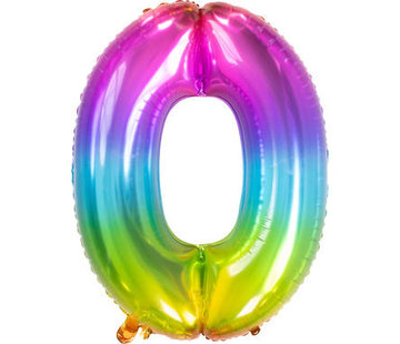 Cijferballon  Rainbow Cijfer 0 - 86 cm