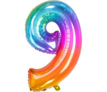Cijferballon  Rainbow Cijfer 9 - 86 cm