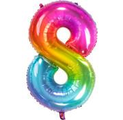 Cijferballon  Rainbow Cijfer 8 - 86 cm