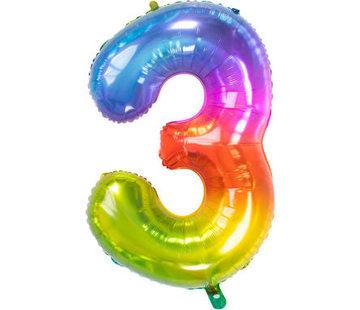 Cijferballon  Rainbow Cijfer 3 - 86 cm