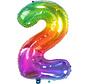 Cijferballon  Rainbow Cijfer 2 - 86 cm
