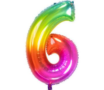 Cijferballon  Rainbow Cijfer 6 - 86 cm