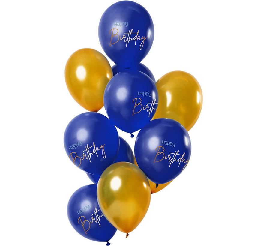 Ballonnen Luxe Blauw Happy Birthday 30cm - 12 stuks
