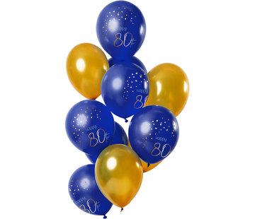 Ballonnen Luxe Blauw 80 Jaar 30cm - 12 stuks