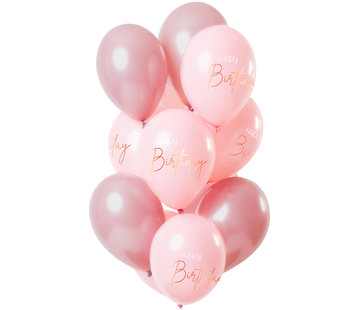 Ballonnen Luxe Roze Happy Birthday 30cm - 12 stuks