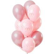 Ballonnen Elegant Roze 50 jaar 30cm - 12 stuks