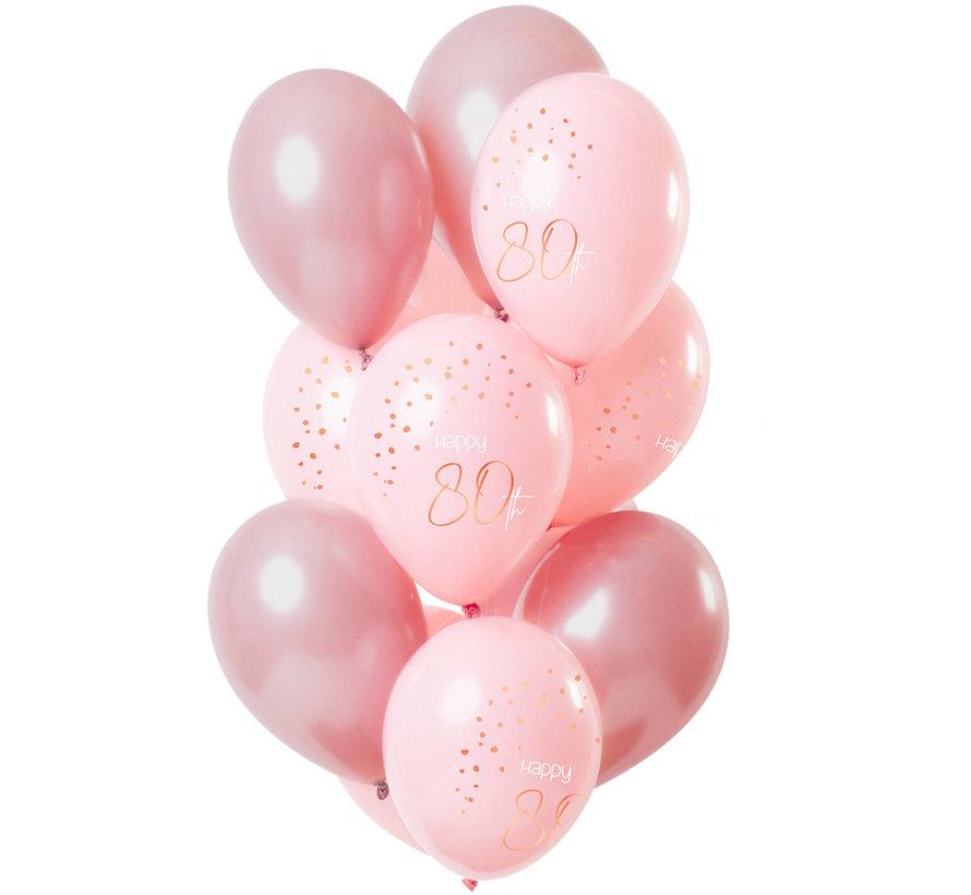 Ballonnen Luxe Roze 80 jaar 30cm - 12 stuks