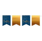 Vlaggenlijn Elegant Blauw Happy Birthday - 6 meter