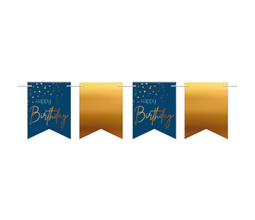 Vlaggenlijn Luxe Blauw Happy Birthday - 6 meter