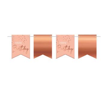 Vlaggenlijn Luxe Roze Happy Birthday - 6 meter
