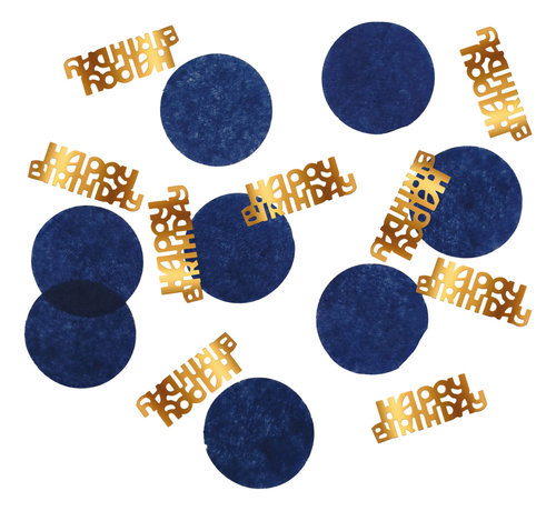 Confetti Luxe Blauw Happy Birthday - 25 gram