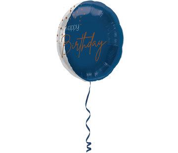 Folieballon Luxe Blauw Happy Birthday 45cm - Per Stuk