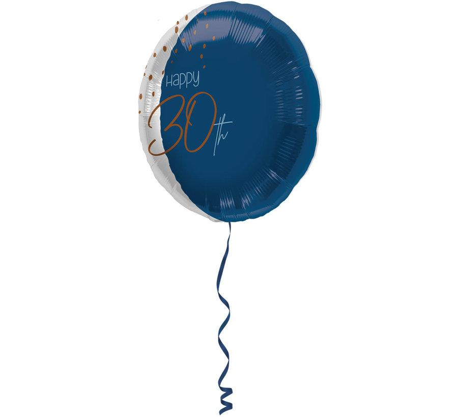Folieballon Luxe Blauw 30 Jaar 45cm - Per Stuk