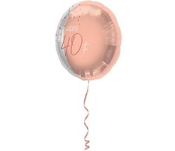 Folieballon Luxe Roze 40 Jaar 45cm - Per Stuk