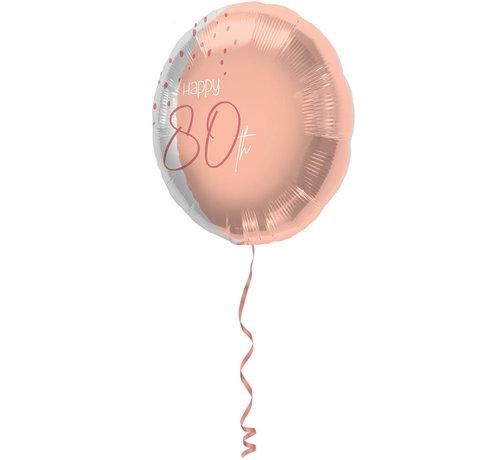 Folieballon Luxe Roze 80 Jaar 45cm - Per Stuk