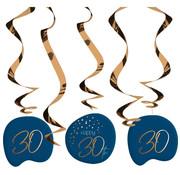 Hangdecoratie Elegant Blauw 30 Jaar - 5 stuks