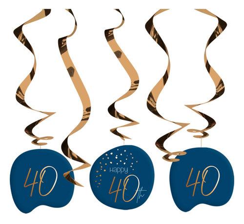 Hangdecoratie Elegant Blauw 40 Jaar - 5 stuks
