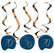 Hangdecoratie Elegant Blauw 70 Jaar - 5 stuks
