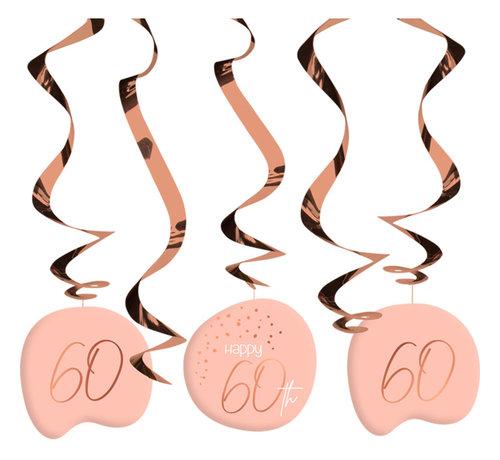 Hangdecoratie Luxe Roze 60 Jaar - 5 stuks
