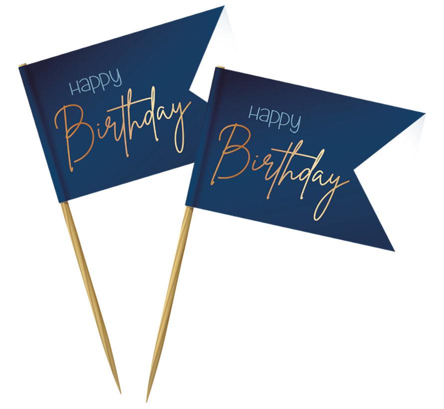 Prikkers Luxe Blauw Happy Birthday - 36 stuks