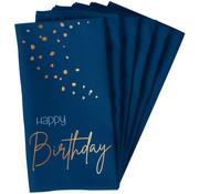 Servetten Luxe Blauw Happy Birthday 33x33cm - 10 stuks