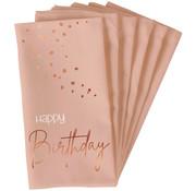 Servetten Luxe Roze Happy Birthday 33x33cm - 10 stuks
