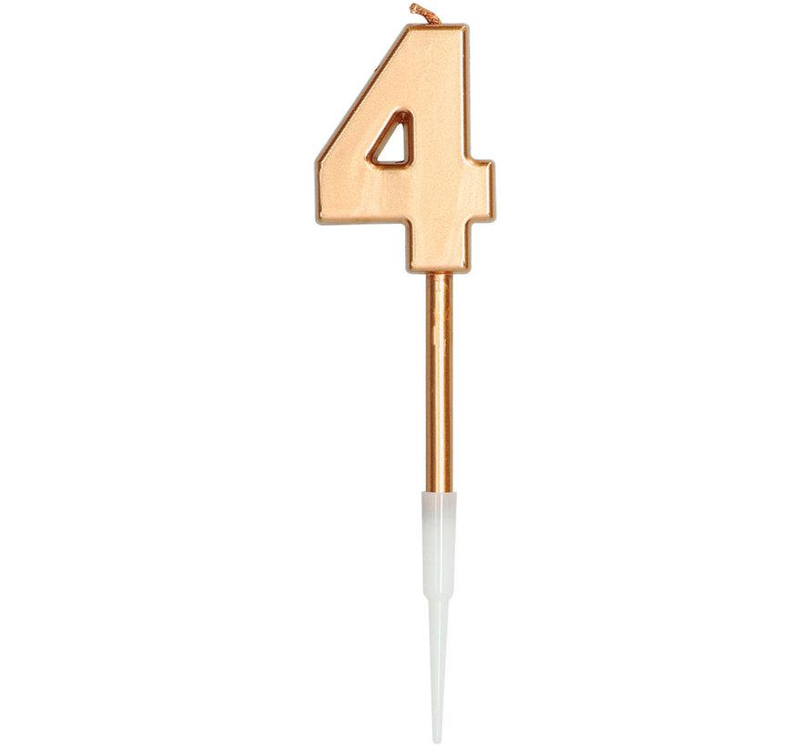 Kaars Cijfer 4 Brons Metallic - 14cm