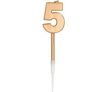 Kaars Cijfer 5 Brons Metallic - 14cm