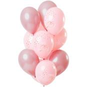 Ballonnen Luxe Roze 25 Jaar 30cm - 12 stuks