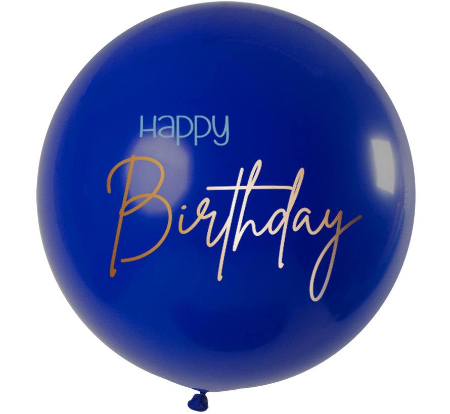 Happy Birthday  Ballon Luxe Blauw XL - 80cm