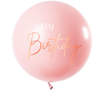 Happy Birthday Ballon Luxe Roze XL - 80cm