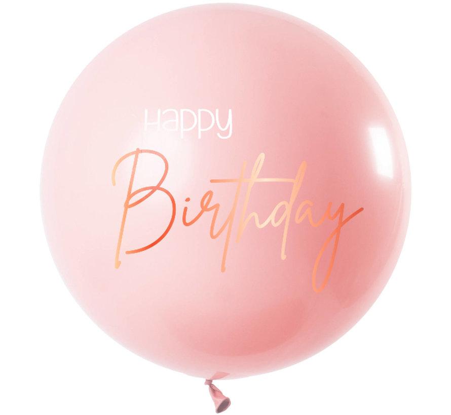 Happy Birthday  Ballon Luxe Roze XL - 80cm