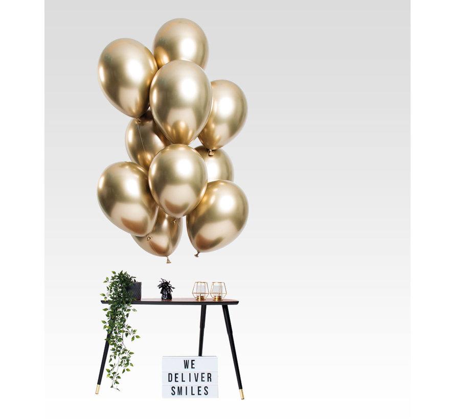 Ballonnen Mirror Chrome Goud 33cm - 12 stuks